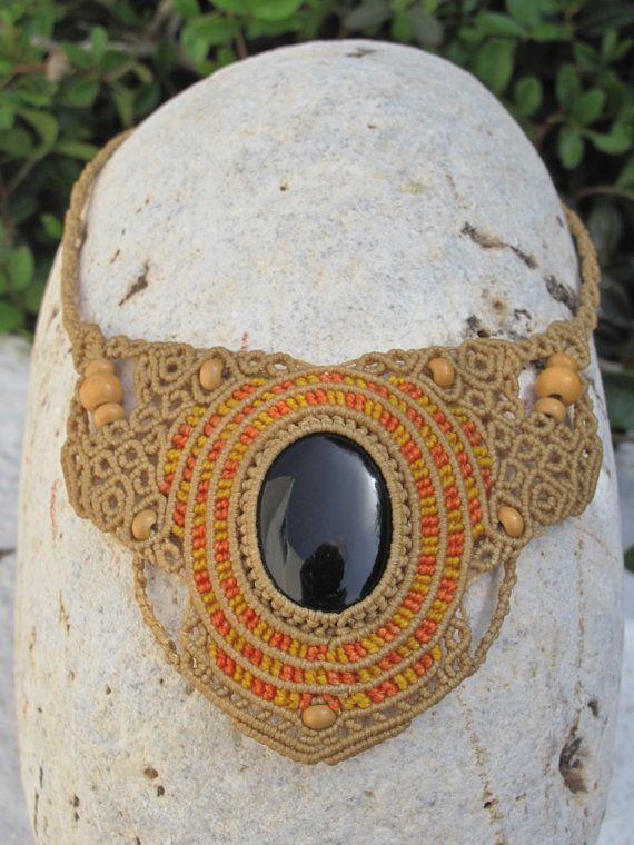 Black onyx macrame necklace by MacramEva on Etsy