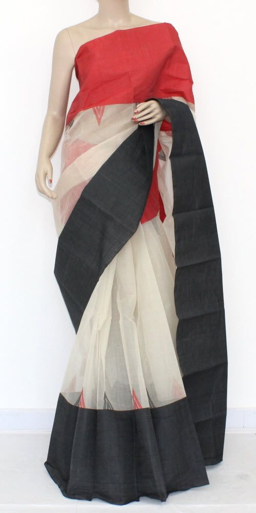 Off White Handwoven Bengal Tant Cotton Saree (Without Blouse) Ganga Yamuna Border 17103