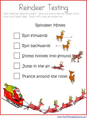 Your Therapy Source - www.YourTherapySource.com: Reindeer Testing - Love this gross motor idea!