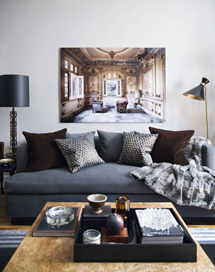 Sofa Pillows ron marvin dark colors reinvent a one bedroom apartment