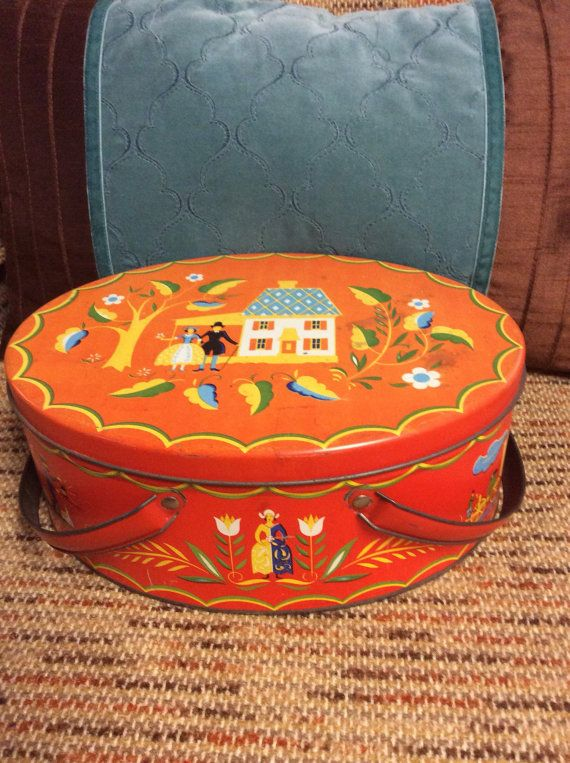 Vintage Metal Sewing Box with Vintage sewing by OstrichandPeacock
