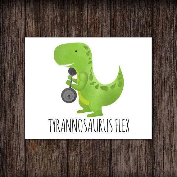 Tyrannosaurus Flex Funny Digital 8x10 Printable Poster T-Flex Flexing Muscles Workout Dinosaur Punny Dino Dinosaurs Puns Bodybuilding Fit
