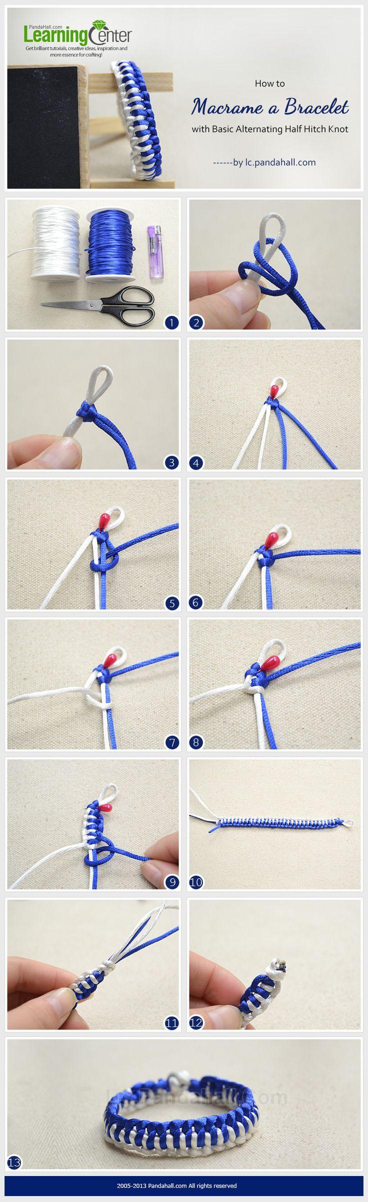 How to Macrame a Bracelet with Basic Alternating Half Hitch Knot great worj please visti my shop MacrameLoveJewelry.etsy.com                                                                                                                                                      Más