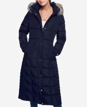 Tommy Hilfiger Plus Size Faux-Fur-Trimmed Down Maxi Puffer Coat - Blue 3X