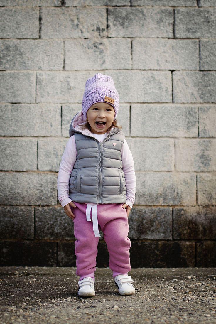 pink harem pants and merino beanie
