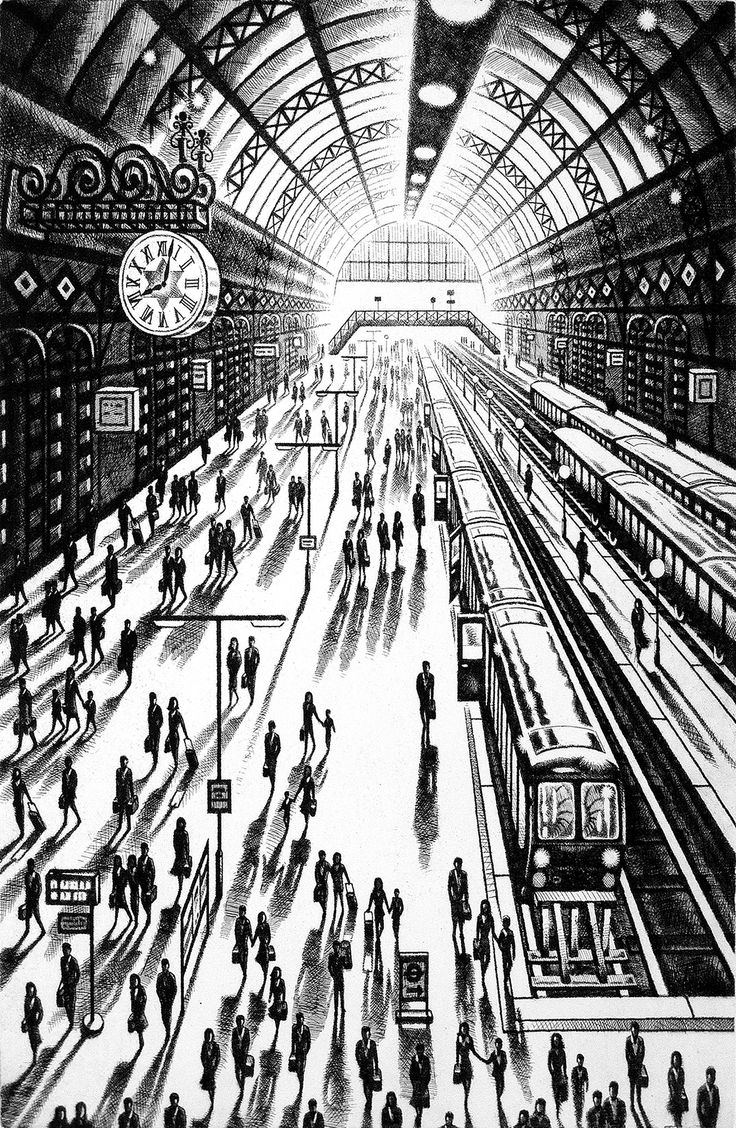 John Duffin RE, Another Arrival (King's Cross St Pancras Station), Etching. POA, Contact info@banksidegallery.com for further details. See www.banksidegallery.com for other prints and paintings