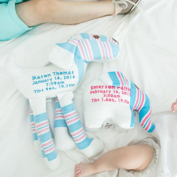 Birth animals, newborn blanket transformed into a keepsake. New baby gift www.etsy.com/shop/stitchesbynatalie