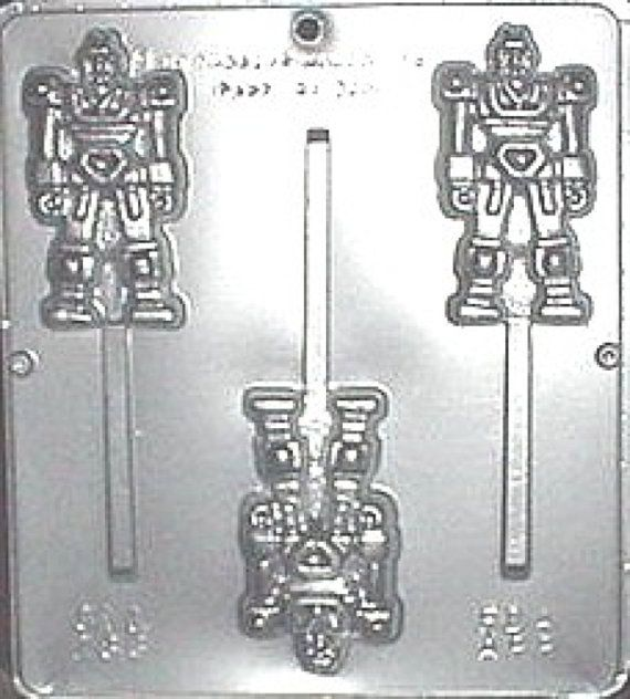 Transformer Robot Lollipop Chocolate Candy Mold by CandyMoldsNMore - use this candy mold to make transformers rescue bot candies for the party