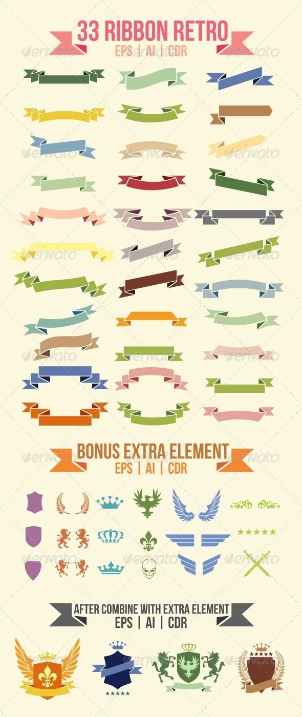 33 Ribbon Retro - Miscellaneous Vectors