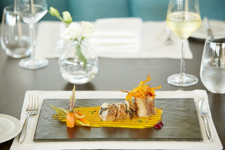 "Chicken fillet stuffed with Cretan wild greens & carrots in three textures!! A completely organic dish at ""Galazio"" Restaurant & Bar""!"