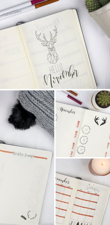 Bullet Journal November Bujo Winterwald / Hirsch Themenideen – #Bujo #Bullet #Wald #Wälder #Ideen
