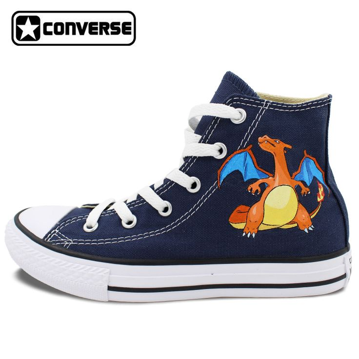 Blue Converse Chuck Taylor Men Women Shoes Pokemon Go Charizard Dragon Design Hand Painted Shoes High Top Canvas Shoes #Affiliate