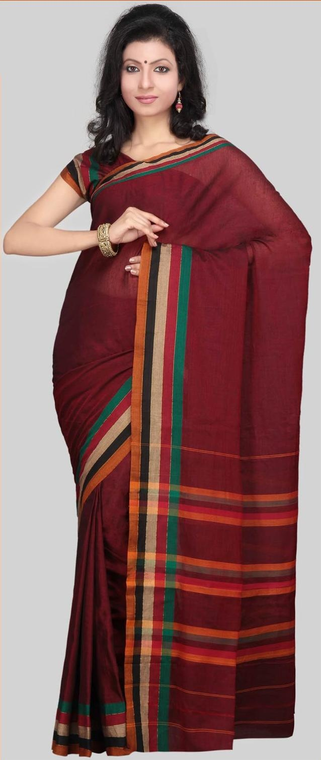 #Maroon Narayanpet Handloom #Cotton #Saree With #Blouse @ US $32.81