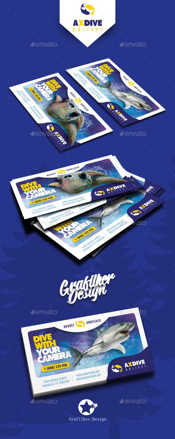 Ocean Diving Business Card Templates by grafilker Ocean Diving Business Card Templates Fully layeredINDDFully layeredPSD300 Dpi, CMYKIDML format openIndesign CS4 or laterCompletely