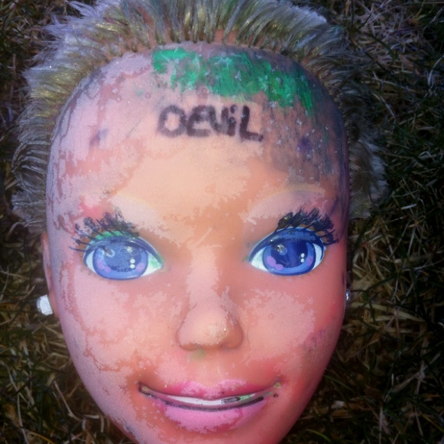 Found this in the yard after my sister cleaned her room, no one seems to know how it got there or who wrote devil on it.