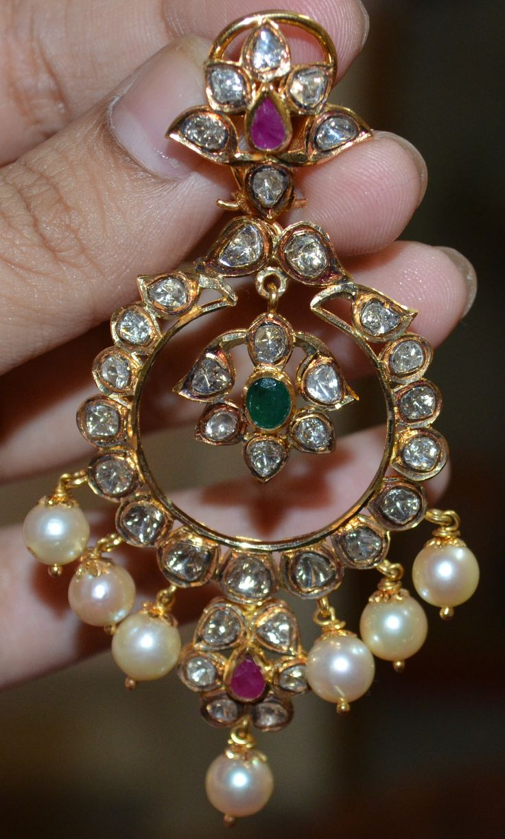 Elegant Chandballis...... made of  Polkis and Sea Pearls from TBZ ,Vijayawada....!!!
