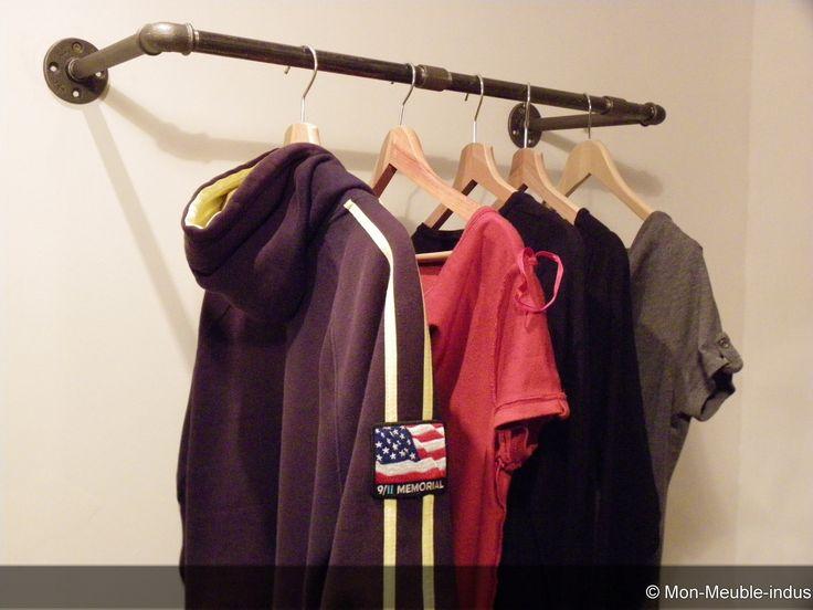 Porte cintre en tube acier,industriel,vintage ,porte manteaux : Meubles et rangements par justoinedesign