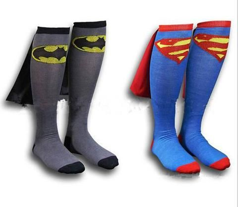 Batman Superman and Wonderman Knee High Socks with Cape