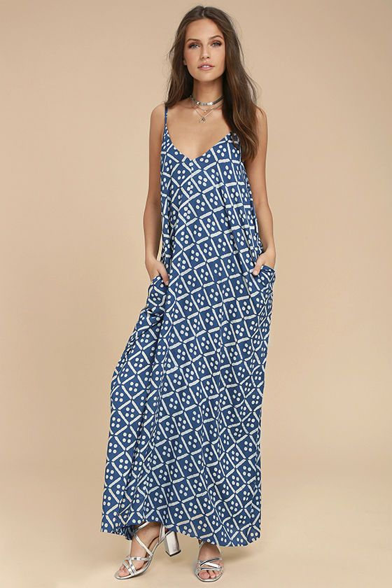 When the sun is calling, the Beautiful Day Blue and White Print Maxi Dress is the answer! Breezy woven fabric, in a blue and white print, falls from adjustable spaghetti straps into a triangle bodice, and wide-cut, midi silhouette. Side seam pockets.
