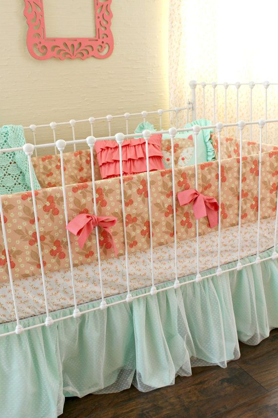 I like simple themes for a crib/ nursery  I don't like the whole jungle or monkey theme    Pretty as a Peach Baby Crib Bedding Set by LottieDaBaby on Etsy, $385.00