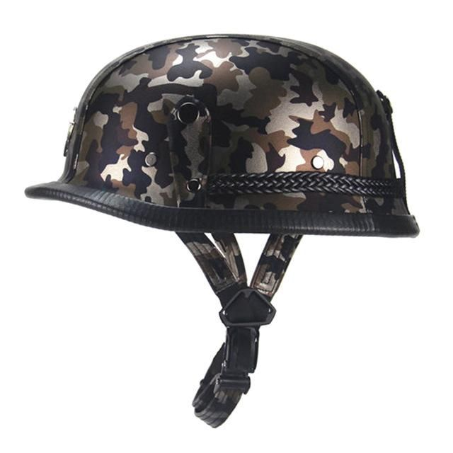 New German Retro Vintage Style Camouflage Open Face Half Helmet Motorcycle Cruiser Chopper Cafe Racer