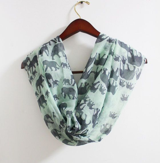 Mint Green Elephant Infinity Scarf Mint Scarf with by LitoPinkOwl, $18.00