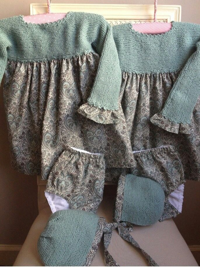 Knitted bodice + gathered fabric skirt Dresses. Both yarn and fabric in neutrals & dusty, muted blues ~~ Vestidos