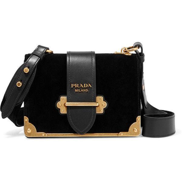 Prada Prada - Cahier Leather-trimmed Velvet Shoulder Bag - Black (€1.880) ❤ liked on Polyvore featuring bags, handbags and shoulder bags