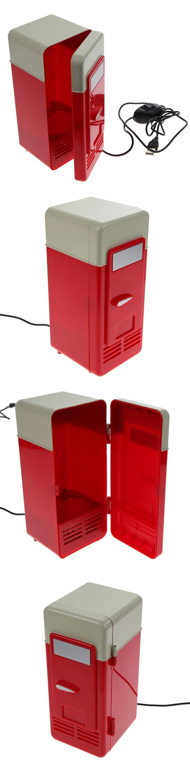 Red Desktop Mini USB Gadget Beverage Cans Cooler  Warmer Refrigerator Car Mini Fridge
