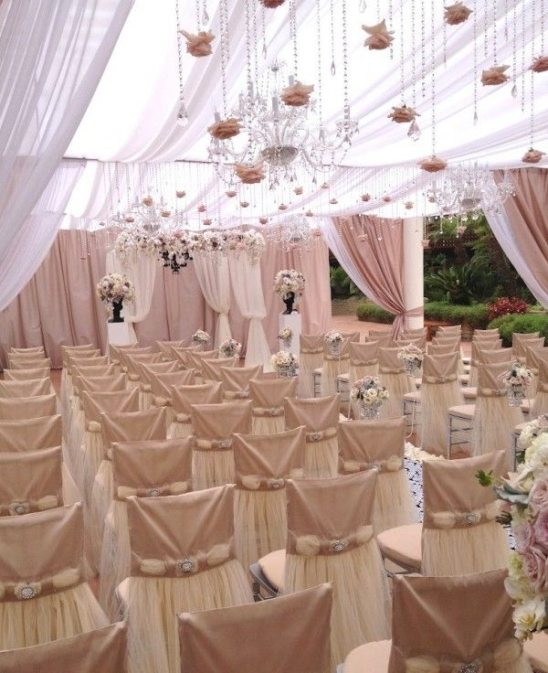 Lovely Our Bridal Champagne Chair Covers Look So Pretty At This Venue! Photo Gallery