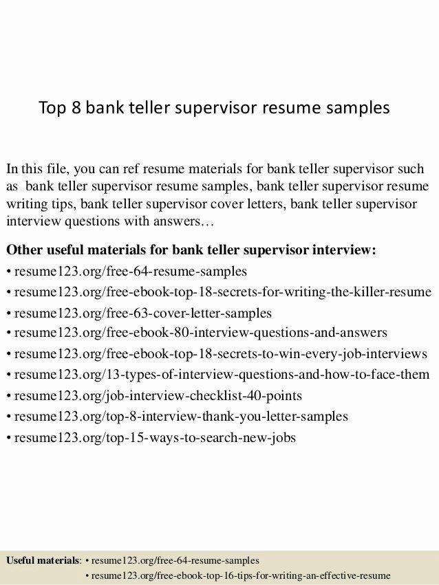 Resume Examples For Bank Tellers Best Of Top 8 Bank Teller