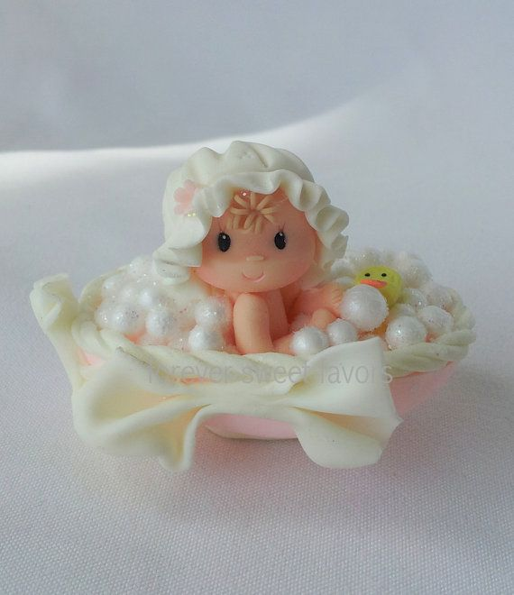*COLD PORCELAIN ~ BABY SHOWER FAVORS.mini cake topper.baby party favor. baby girl party favor