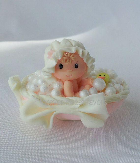 *COLD PORCELAIN ~ BABY SHOWER FAVORS.mini cake topper.baby party favor. baby girl party favor