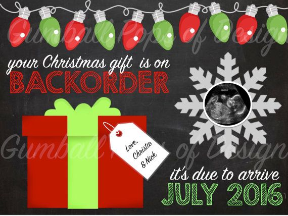 Adorable Christmas Pregnancy Announcement by GumballPopsOfDesign