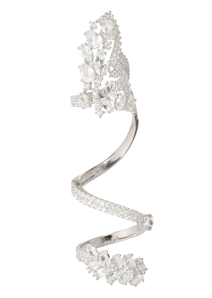 Elise Dray Rings :: Elise Dray white gold, white diamonds and white topaz articulated Jaïpur ring   Montaigne Market