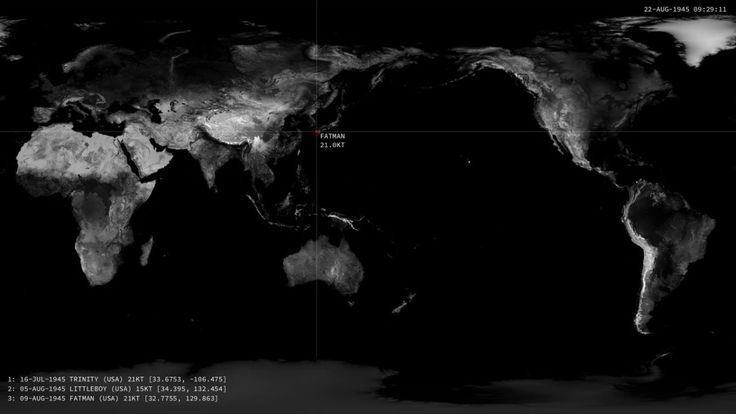 Visualization of Every Nuclear Detonation From 1945 to Present Day