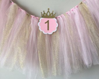 Pink and Gold First Birthday Banner. Princess di TinyEnchantments
