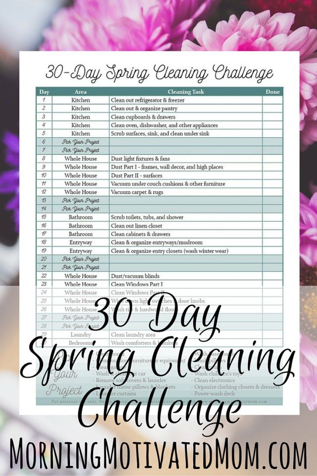 30 Day Spring Cleaning Printable. Get the FREE Spring Cleaning Printable. This schedule includes Pick Your Project days so you can decide what cleaning projects are best for your home.