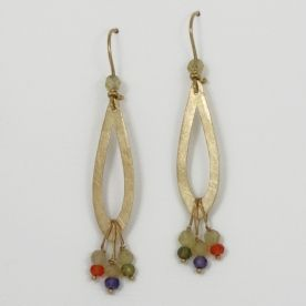"""Golden hammered and tarnished plates decorated with citrines and colourful zircons. The  earring clasp – a fish hook – is decorated with a citrine as well.                                           The total length of the  earrings – 6cm (2,36""""). The part size – height - 33mm and width – 10mm."""