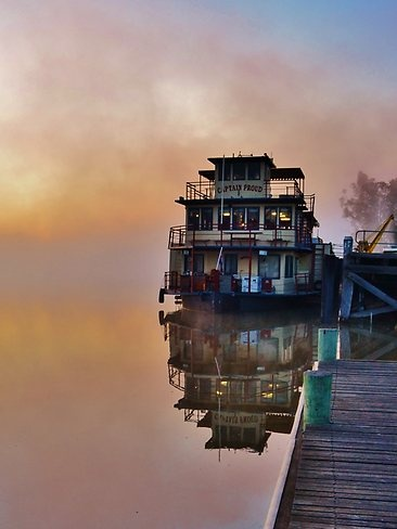 The 'Captain Proud' paddleboat at Murray Bridge stands proudly in the early morning fog.