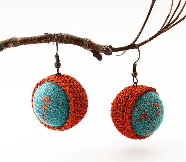 Terracotta crocheted earrings in a form of balls | Flickr - Photo Sharing!