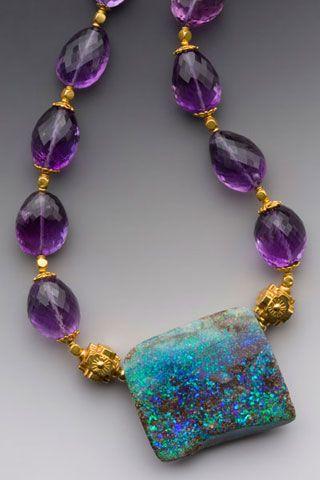 Neptune's Garden. Australian Boulder Opal, Amethysts, 18k. Elle Schroeder