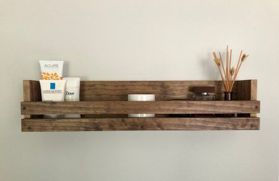 Rustic Wood Bathroom Shelf Different Lengths Available Hanging Cosmetic Shelf Bathroom S Wall Mounted Wood Shelves Diy Bathroom Storage Rustic Floating Shelves