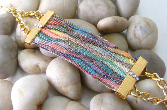 Missoni Fabric Bracelet with Gold Chain & Clear by: Love2get, $33.00