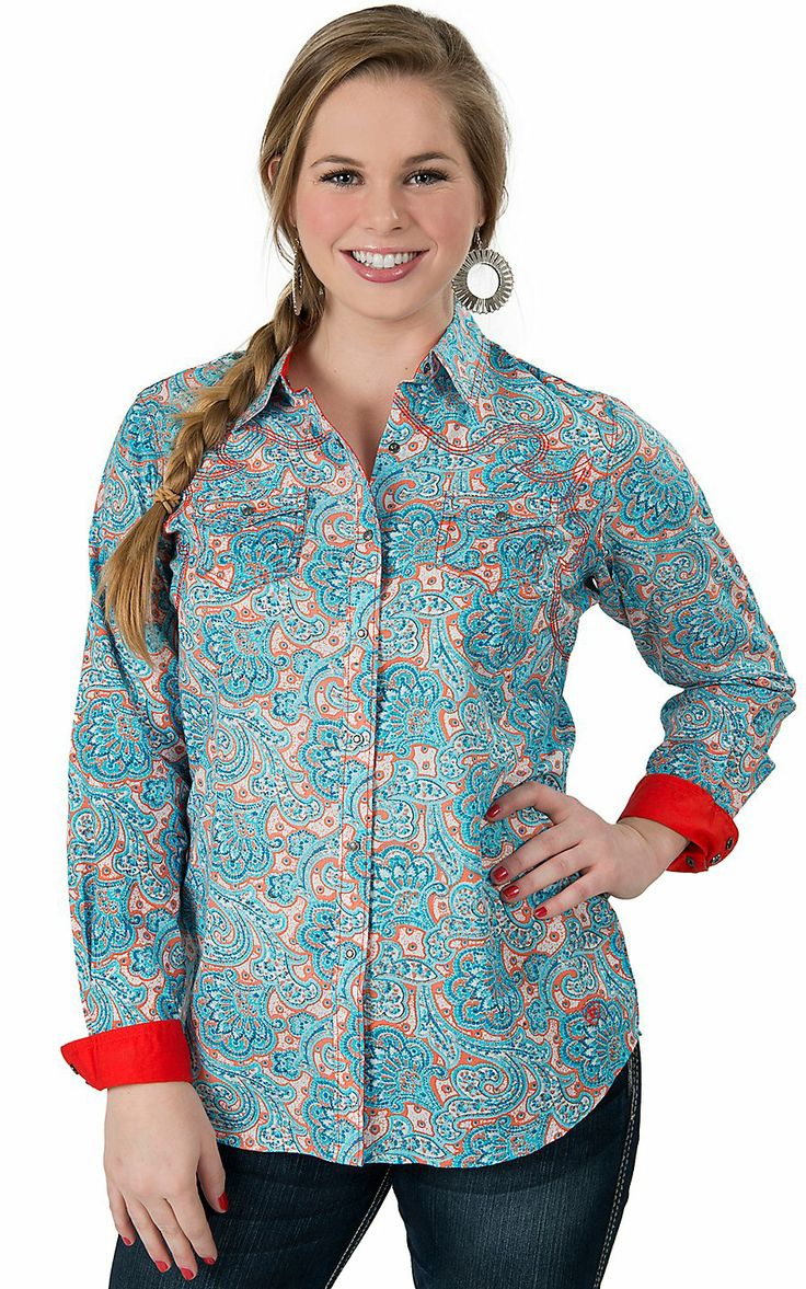 Ariat® Women's Harper Orange & Turquoise Paisley Print Long Sleeve Western Shirt