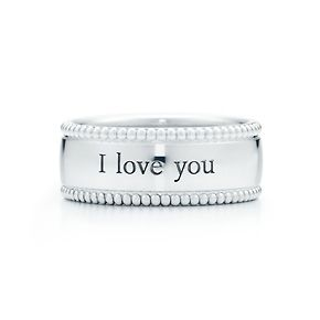 """Tiffany & Co. """"I Love You"""" ring in sterling silver. This is an awesome gift when you mean it. I love this."""