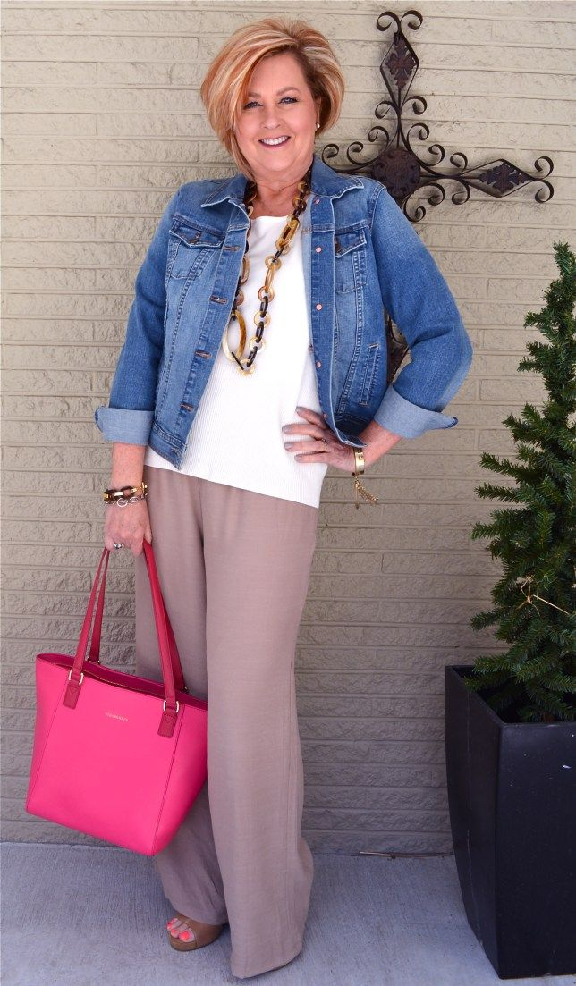 50 Is Not Old   Linen Pants Are Perfect For Spring   Denim   Jean Jacket   Fashion over 40 for the everyday woman