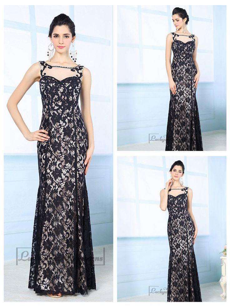 Luxury Illusion Boat Neckline Black Lace Appliques Long Prom Dresses http://www.ckdress.com/luxury-illusion-boat-neckline-black-lace-  appliques-long-prom-dresses-p-2038.html  #wedding #dresses #dress #Luckyweddinggown #Luckywedding #wed #clothing   #gown #weddingdresses #dressesonline #dressonline #bridaldresses