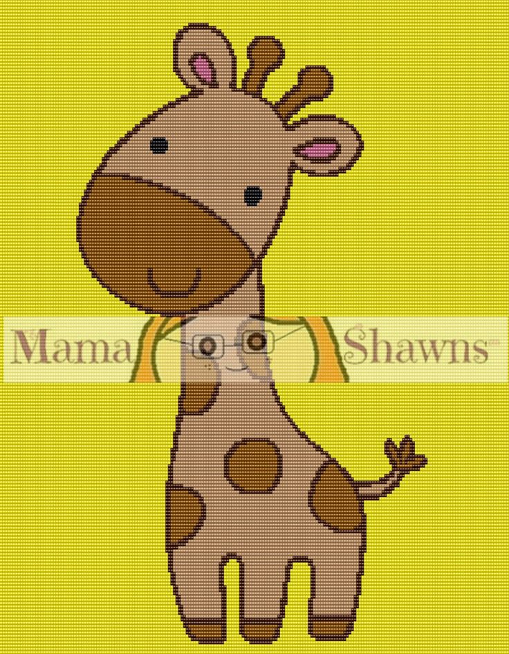 Baby Giraffe Graphghan, Written Patern, Word Chart, Crochet Pattern, Crochet Bedding, PDF Download, Baby Blanket, Kids Bedding, Cute, Animal by MamaShawns on Etsy