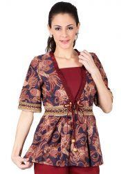 BATIK SEMAR  BATIK SEMAR Blouse Batik Printing Maroon
